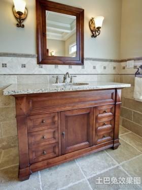 中式卫生间洗脸盆柜组合图片