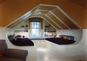最新斜顶阁楼卧室装修效果图大全2013图片欣赏