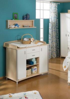 蓝色儿童房简约儿童房书桌装修效果图