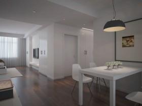 110平米现代简约客厅餐厅一体效果图