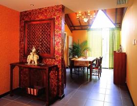 东南亚餐厅屏风隔断装修效果图