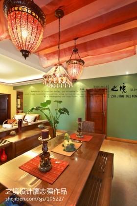 东南亚风格客厅餐厅一体效果图