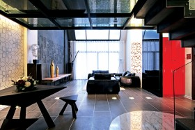 现代复式楼客厅装修图片