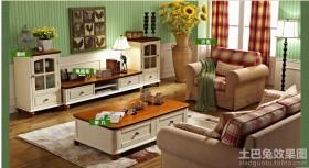 田园风格客厅实木电视柜装修效果图