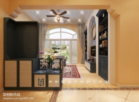 地中海风格客厅玄关柜装修图片