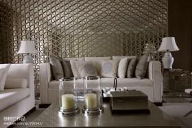 现代中式客厅沙发隔断设计效果图