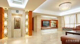 现代中式客厅吊顶设计效果图