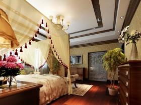 乡村别墅卧室窗帘效果图