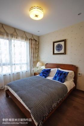 新中式小卧室壁纸装修效果图图片