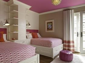 粉色儿童卧室装潢设计