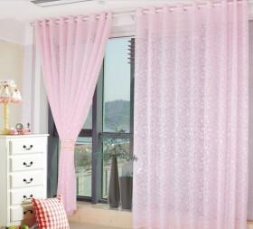粉色客厅窗帘装饰效果图