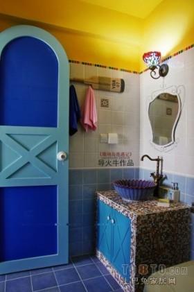 地中海风格卫生间洗手盆装饰效果图