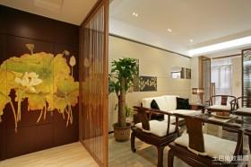 中式风格客厅屏风隔断装修效果图