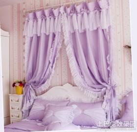 卧室紫色窗帘效果图