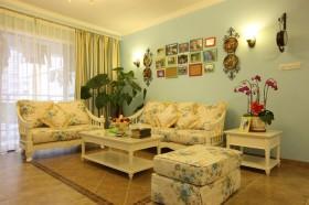 田园小客厅沙发背景墙装修效果图