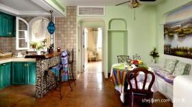 地中海风格开放式厨房餐厅装修效果图