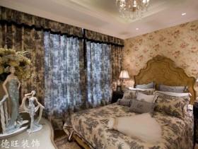 田园风格主卧室窗帘效果图欣赏