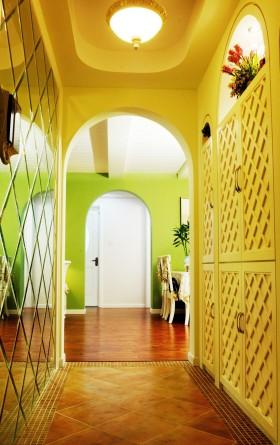 田园风格三居室最新室内过道玄关黄色鞋柜仿古地砖装修效果图片