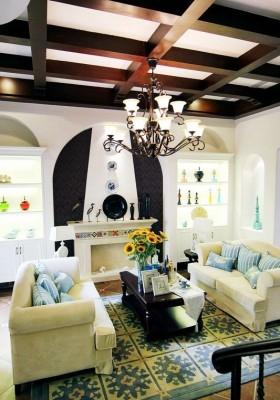 地中海风格别墅客厅吊顶效果图