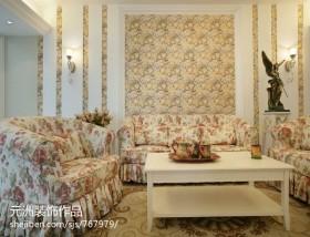 田园风格客厅沙发背景墙效果图