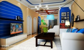 地中海风格60平米小户型客厅电视背景墙装修效果图