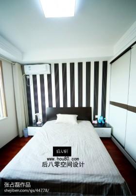现代简约风格卧室床背景墙效果图