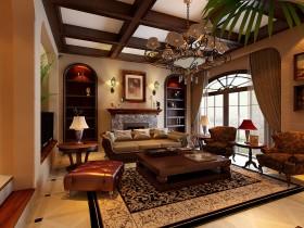 美式整体客厅吊顶效果图欣赏