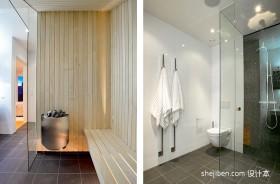 现代风格复式主卫生间瓷砖装修效果图