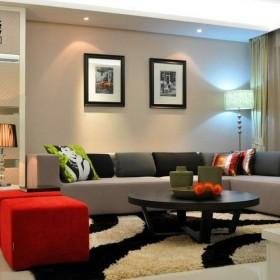 现代小户型客厅沙发背景墙效果图