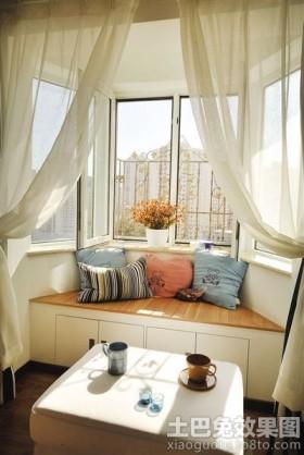 阳台带飘窗窗帘装修效果图