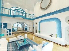地中海风格别墅客厅电视背景墙效果图