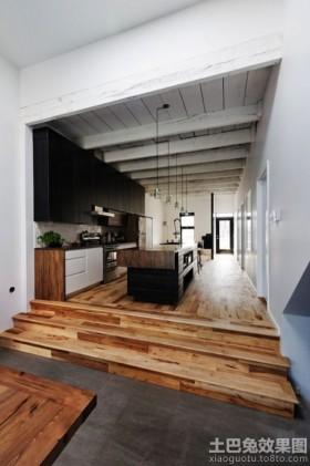 开放式厨房木地板效果图