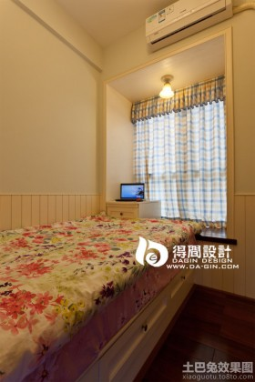 东南亚卧室飘窗窗帘效果图