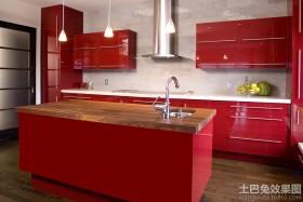 厨房红色橱柜效果图