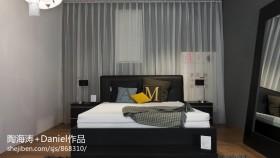 现代风格卧室床头窗帘效果图