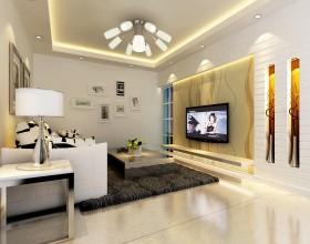 大户型简约客厅电视背景墙设计效果图