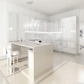 白色简约开放式厨房装修效果图