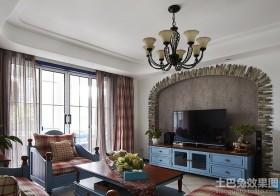田园风格客厅电视背景墙效果图大全2013图片