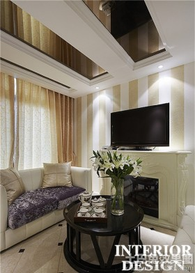 现代小客厅电视墙效果图大全