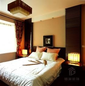 中式简约风格卧室飘窗窗帘装修效果图