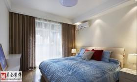 卧室落地窗深色窗帘效果图