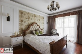 美式乡村风格卧室壁纸背景墙效果图