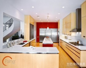 别墅开放式厨房led射灯图片