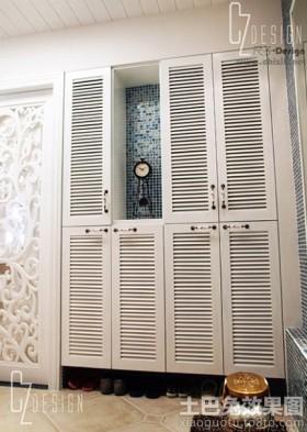 现代白色玄关鞋柜效果图