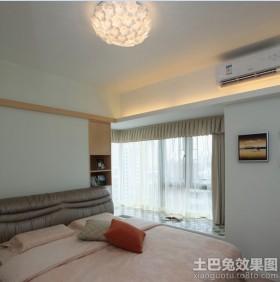 现代简约卧室飘窗窗帘布艺图片