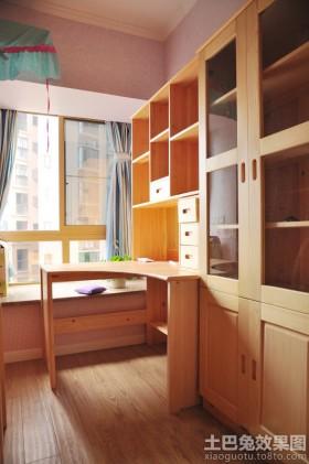 书房实木书架装修图片