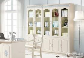 白色书房实木柜子