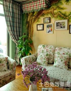 田园风格沙发背景墙效果图