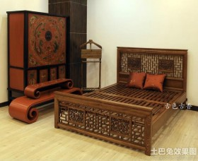 中式实木床图片