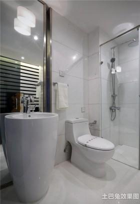 现代风格主卫生间玻璃门图片